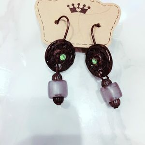 Bronze and Green Metal Earrings